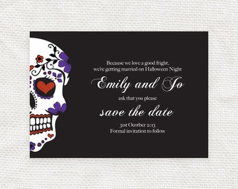 sugar skull save the date - printable file -  halloween, Dia de los Muertos, day of the dead, death do us part, mexican, mexico, gothic goth