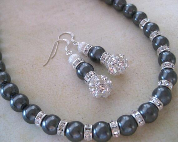 Annabelle-Bridesmaids Charcoal Gray Jewelry Set. Dark Grey Swarovski Pearl Jewelry Set .Vintage style Jewellery Set