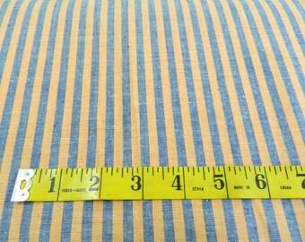 62 IN W Orange & Blue Stripe Linen (221E)