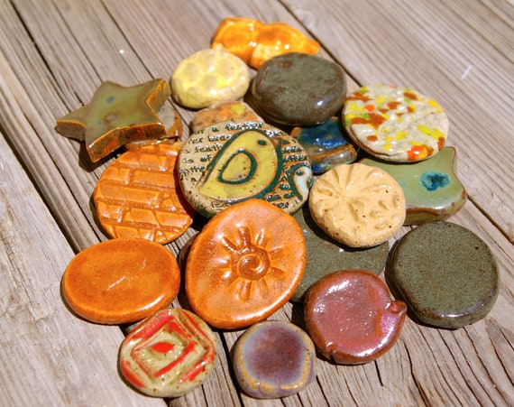 Mosaic Tiles Pottery Handmade Tile Pieces Cabs for Mosaics or Jewelry A273