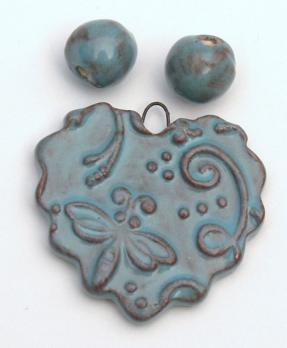 Heart Ceramic Pendant with Dragonfly and coordinating beads in Turquoise by Clay Designs by glee