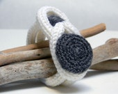Knitted wool yarn bracelet, white and tweed charcoal grey  - Ready to ship