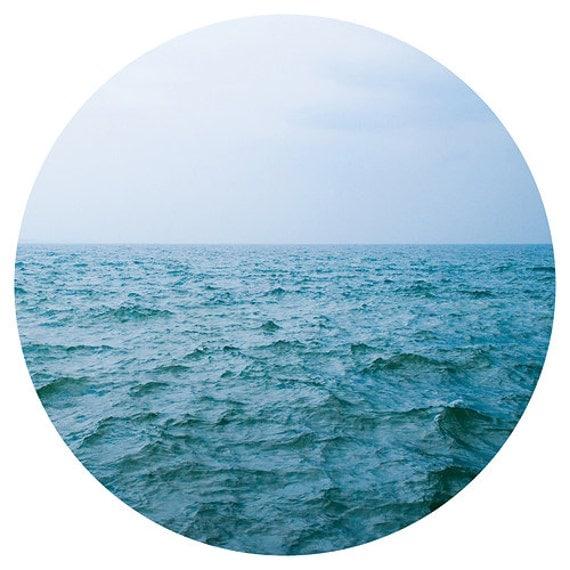 Beach photography beach photograph 12x12 nautical ocean landscape fine art round photo square print modern wall art light blue navy blue