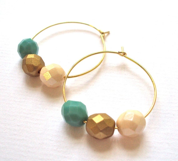 Gold Hoop Beaded earrings - with czech crystal beads (mint green, gold & cream)