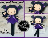 PDF. Bat girl with puppet.Plush Doll Pattern, Softie Pattern, Soft felt Toy Pattern.