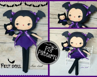 PDF. Bat girl with puppet.Plush Doll Pattern, Softie Pattern, Soft felt Toy Pattern.