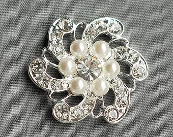 "5 Rhinestone Buttons Round Circle 1"" (25mm) Pearl Diamante Crystal Hair Flower Comb Wedding Invitation Scrapbooking BT011"