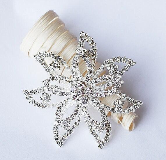 Rhinestone Brooch Component Crystal Flower Bridal Hair Comb Shoe Clip Pin Wedding Cake Decoration Invitation BR087