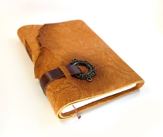 Orange Leather Journal - Pumpkin Orange Leather Cover Notebook