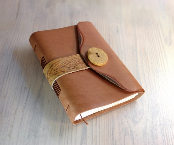 SALE - Journal Notebook, Leather Cover, Wood Button, Decorated Paper - Free Shipping