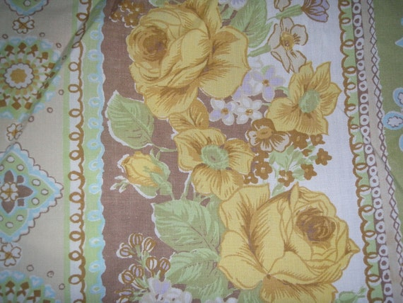 Lovely Green Floral FULL FITTED Sheet  - Reclaimed Bed Linens