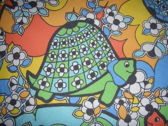 Funky Flower Power Turtles  FITTED and FLAT Double bed  Sheet Set - Reclaimed Bed Linens