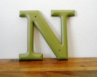 Vintage Letter in Green - You Pick E, I, L, or N