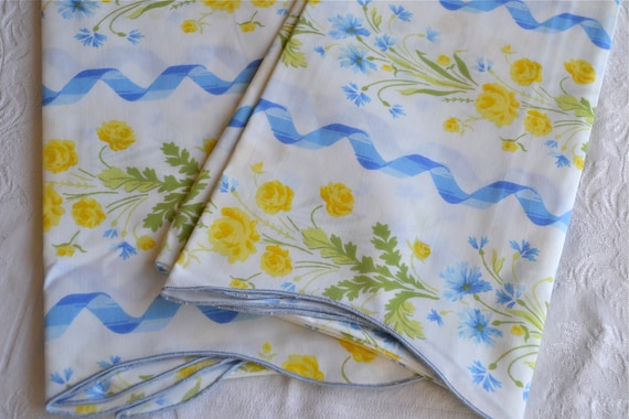 Vintage Pillowcases - Yellow Roses and Blue Ribbons - Standard Size Pair