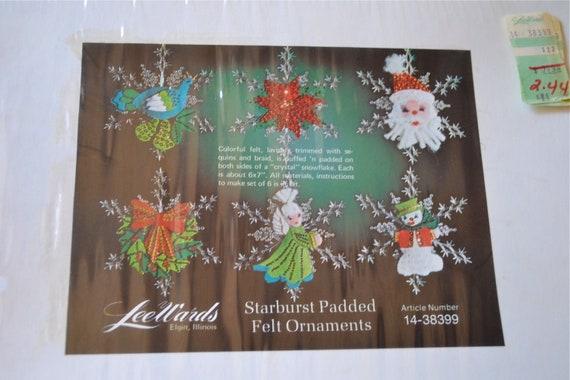 Lee Wards Christmas Ornament Kit - Mod Jeweled Felt Snowflakes - Makes 6