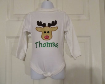 Boys, Girls, White Turtleneck,Long sleeve onesie, Rudolph the Red Nose Reindeer, Free Monogram