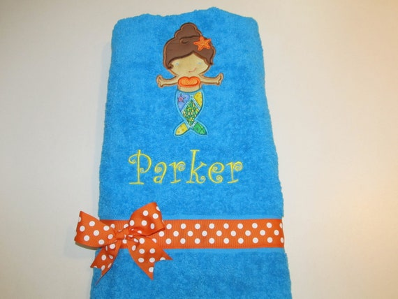 Girls, Little Girls, Aqua Bath, Beach, or Pool Towel with Mermaid Applique and Monogram, Orange and white Polka Dot Ribbon
