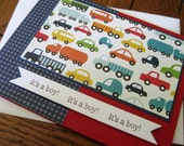 it's a boy with trucks and cars - handmade greeting card