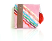 Rick Rack Pouch - GIRLIE PINK - Zippered - Handmade in USA - Valentine's Day