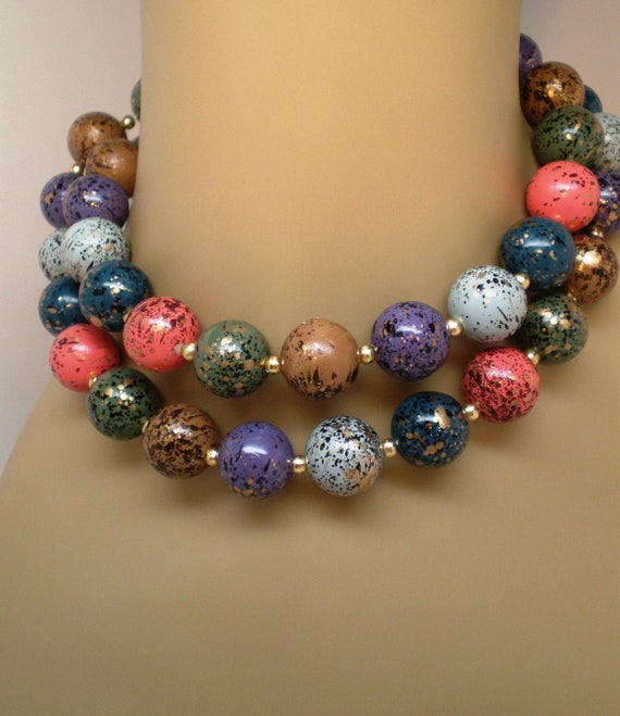 """Vintage Necklace Chunky Bead Speckled Gold Black Jeweled Colors 30"""" Long 70s Statement"""