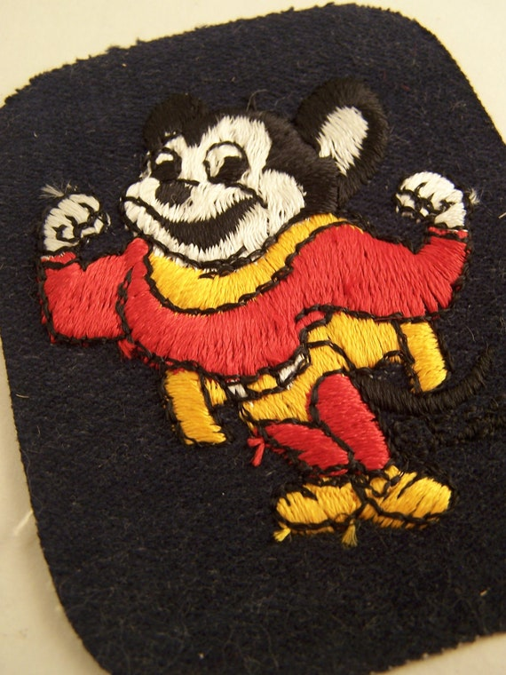 Vintage Mighty Mouse Iron On Embroidered Denim Patch