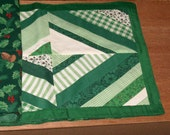 PLACEMATS Set of 4, Greens, String Quilt Pattern and Holly,  Reversible, Christmas, St Patrick Day   Traditional Design