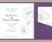DIY Custom Wedding Invitation Suite - Modern Flower Design Printable PDF, RSVP card, and 2 inserts