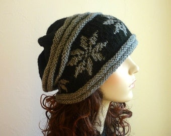 Unisex Slouch hat with snowflakes,Hand knitted winter hat in black and gray