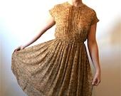 50s Dress / Vintage 1950s Day Dress Mad Men Rose Mustard Chiffon