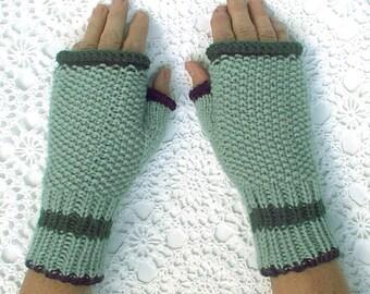 Mittens Fingerless Texting Green Black Hand Knit Seed Stitch Women Ladies Teens
