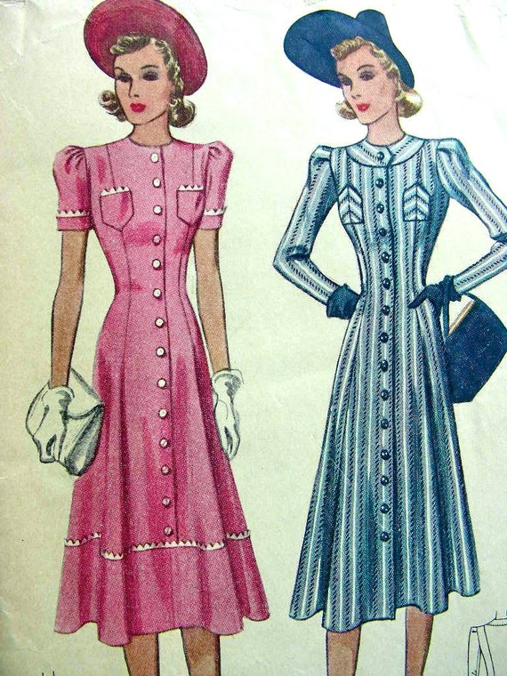 Vintage 1930's McCALL Sewing Pattern 3158 - LOVELY Coat Dress - UNCUT - size 18