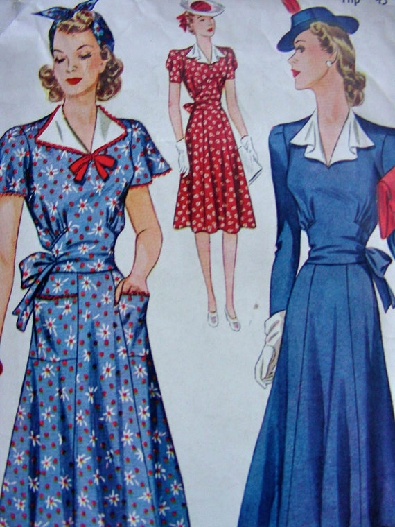 1940s Misses Dress with Draped Revers and Sash that Wraps in the Back  - Simplicity 3461 - Bust 42
