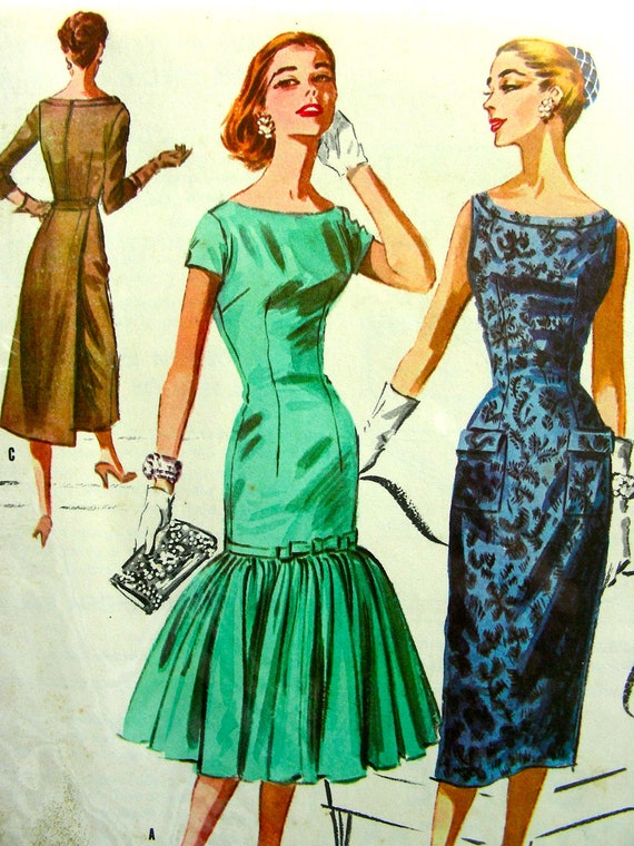 Vintage 1950's GORGEOUS WIGGLE Dress with Flounce Sewing Pattern 3768 - FF