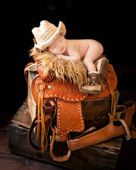 Cowboy Boots and Cowboy Hat, Cowboy baby shower, Brown Cowboy set