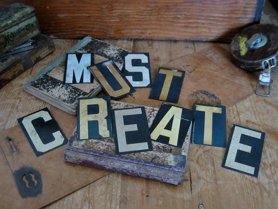 must create, black and white letters, vintage metal letters, sign letters