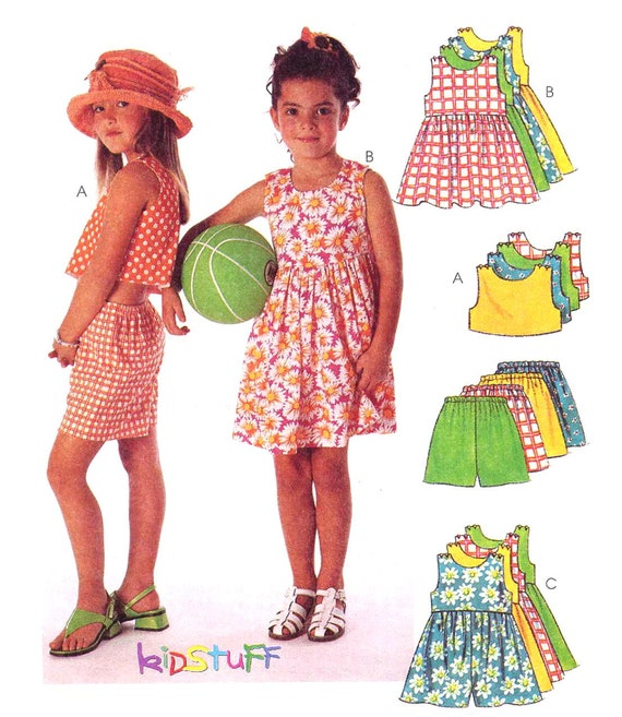 McCalls 8743 Easy Girls Top, Romper, Dress Sewing Pattern, Size 6-7-8 Summer Play Clothes, UNCUT