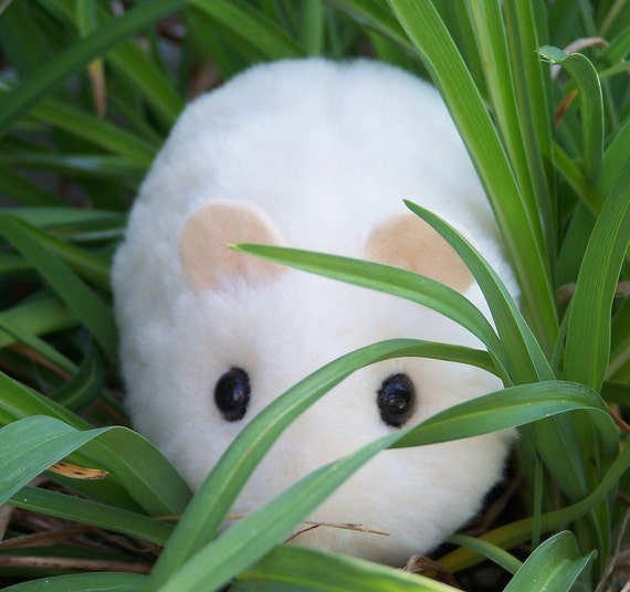 Cream-colored Toy Hamster Handmade Plush Animal