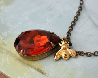 HONEY estate style necklace with vintage pear shaped madeira topaz glass jewel and gold bee charms