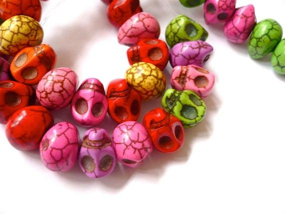 Sideways drilled multicolored skulls 20 beads 13x12mm  - halloween, dia de los muertos, day of the dead supplies