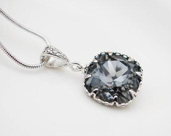 Wedding Jewelry Bridesmaid Jewelry Bridesmaids gift Bridesmaid Necklace Silver Night Swarovski Crystal Square drops