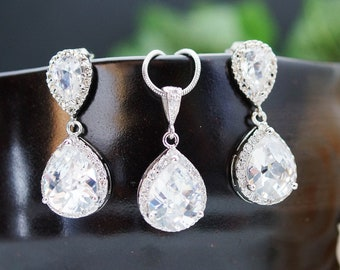 Wedding Jewelry Bridal Jewelry Bridal Earrings Bridal Necklace Clear White LUX Cubic Zirconia Tear drops Jewelry Set