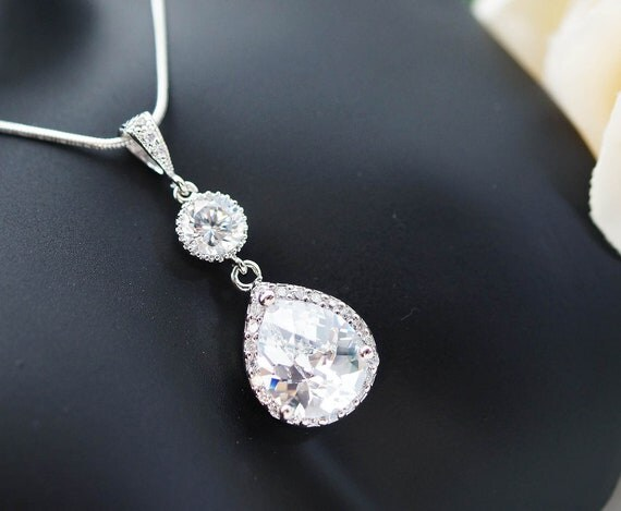 Wedding Jewelry Bridal Jewelry Bridal Necklace cubic zirconia connectors and clear white Large (LUX) cubic zirconia Crystal tear drop