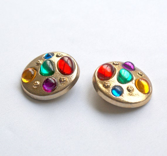 Clip on Earrings 80s Style Gold and Gems FINAL SALE