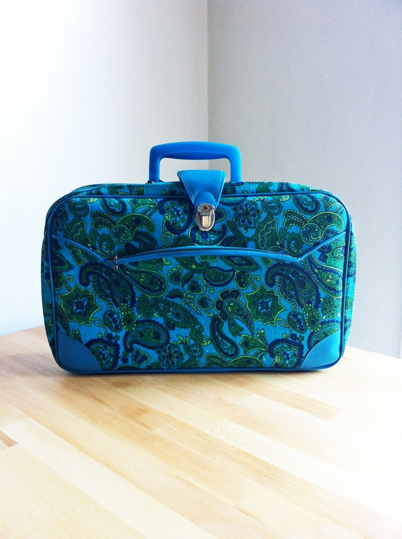 60s Mod Suitcase - Teal Green Paisley Made in Japan