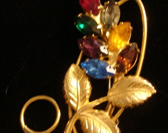 SPARKLING Multi Colored Rhinestone Flower and Leaves Pin