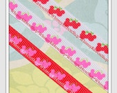 30 yards 3/8 RED Hot Pink Wild CHERRY Mouse Heads on White Red Grosgrain Ribbon Hair Bows Scrapbooking Sewing Party Favors invitations