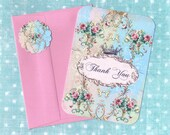 Shabby French Style Note Cards Thank you / Pour Vous
