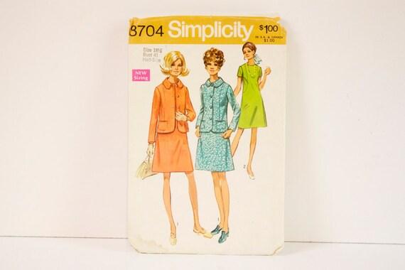 Vintage 1970 Simplicity 8704 Dress and Jacket Pattern