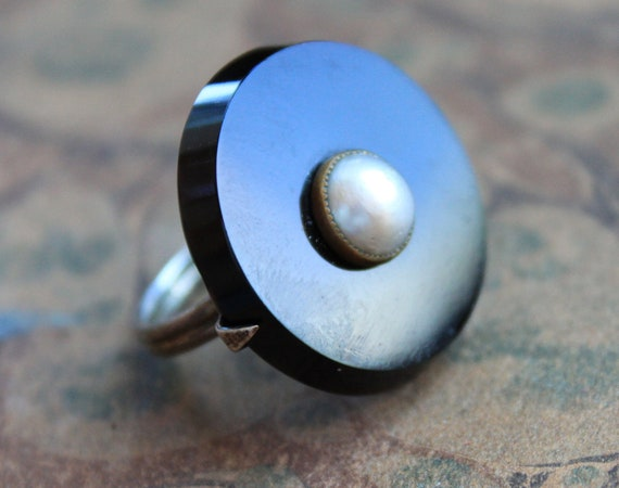 RESERVED // for Hollie / Victorian Onyx and Pearl Mourning Ring
