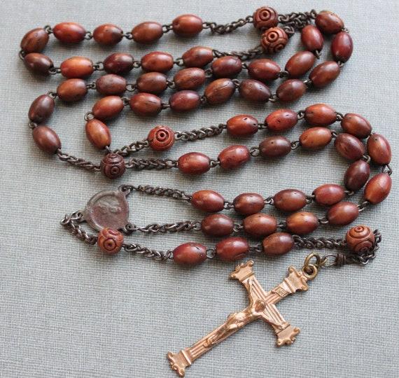 Antique 19th Century Wood Rosary